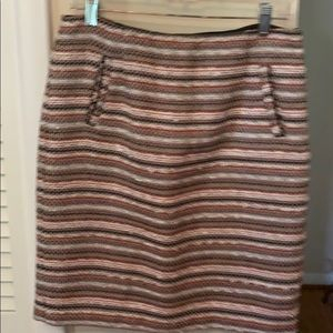 Halogen tweed midi burnt orange white taupe black